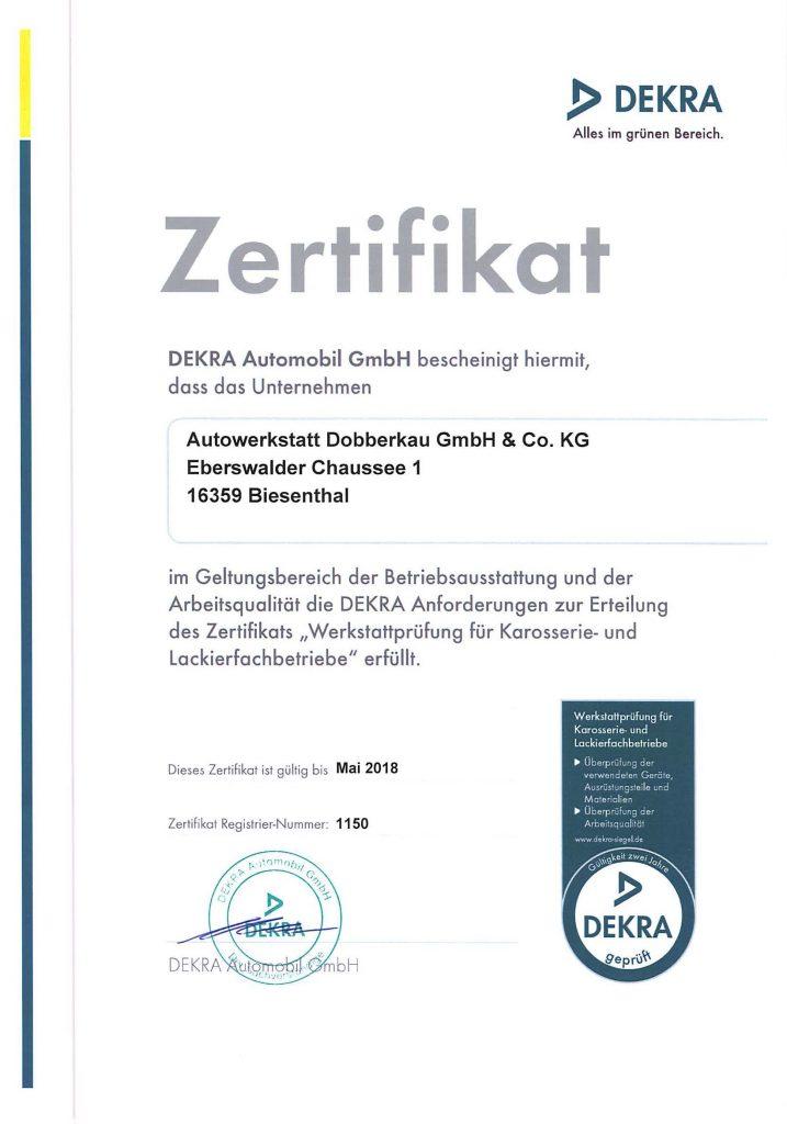 Zertifikat Dekra bis Mai 2018