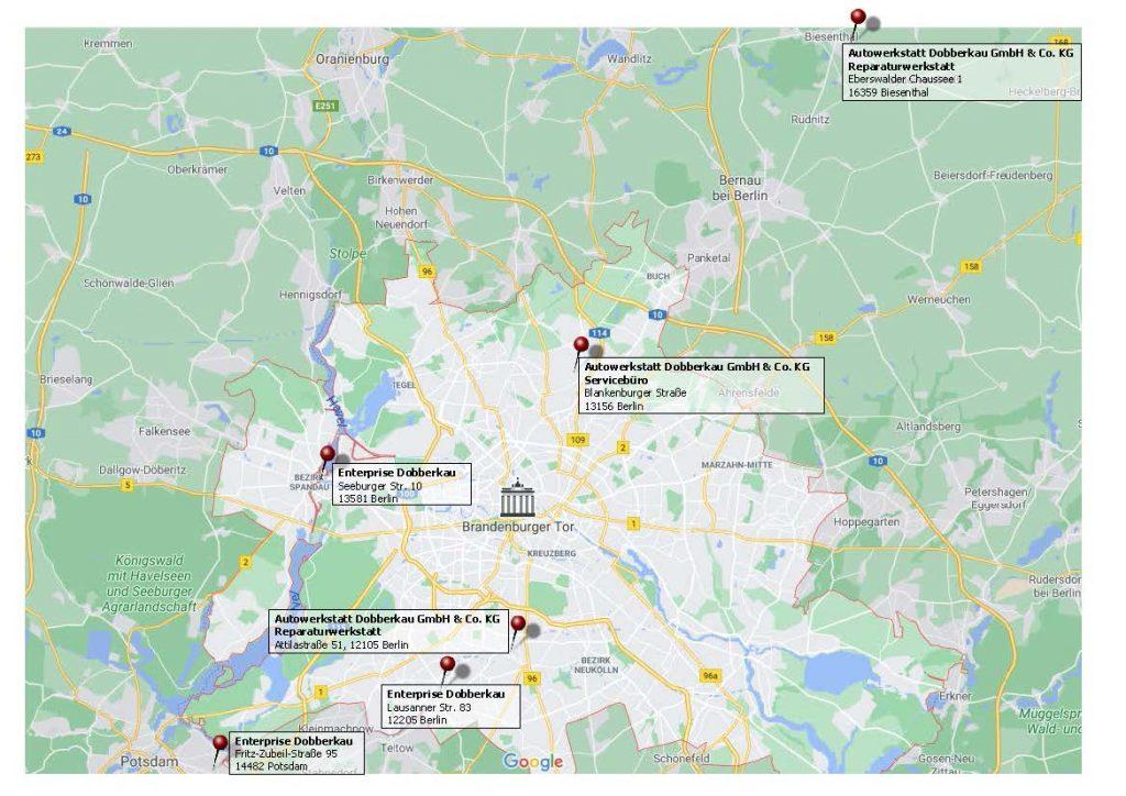 Karte mit allen Standorten ohne Bilder